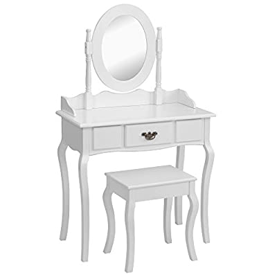 Beautify Dressing Table, Stool and Mirror Bedroom Vanity Set with Drawer - White produced by Beautify - quick delivery from UK.