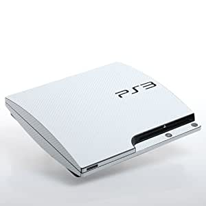 Playstation 3 Slim Ps3 White Textured Carbon Skin Wrap Decal