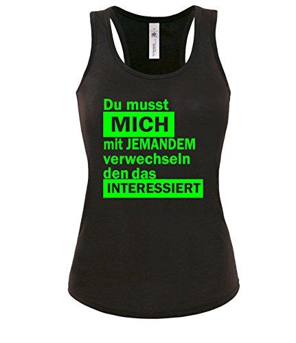 Luckja Du musst mich mit jemandem verwechseln den das interessiert Damen Tanktop Schwarz/Neongrün