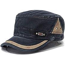 Liann Unisex Cotton Blend Military Washed Baseball Cap Vintage Army Plain Flat Cadet Hat for Men Women - Blue