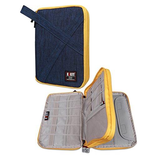 Gadget Tasche (BUBM Kopfhörer doppelte Schichten handliches Reise Gadget Organiser, Elektronik Zubehör Tasche/Akku Ladegerät Schutzhülle für iPad Mini und Tablet mit Griff Grau groß)