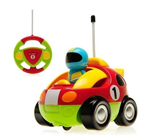 KINGBOT-DeeXop Rc Cartoon-Rennwagen mit Musik & Licht, elektrisches Funksteuerungsspielzeug mit Action-Figur für Kleinkinder & junge Kinder