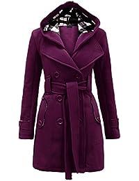 669544e0b2a NOROZE Womens Long Sleeve Belted Button Fleece Coat Black