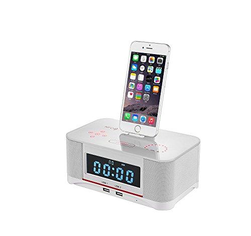 PowerLead Digital Dual Alarm FM Uhr mit Radio Bluetooth 4.0 Lautsprecher, Akku Backup, Snooze und Sleep Timer, große Display, NFC Kompatibilität, Lightning Dock für Iphone / Ipad / Ipod --- Schwarz