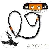 ARGOS Retrieverleine schwarz reflektierend, längenverstellbar, Hundeleine mit Elementen aus Edelstahl und orangenem Lederbesatz