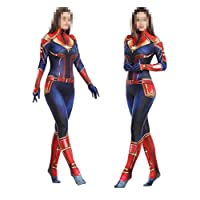 TOYSSKYR Captain Marvel Cosplay Costume Adult Body Tights Stage Show Props Halloween Costumes (Color : Red, Size : M(160-170))