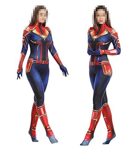 TOYSSKYR Capitán Marvel Cosplay Disfraz Medias corporales para adultos Accesorios de espectáculos de escenario Disfraces de Halloween (color : Rojo, Tamaño : L(170-180))