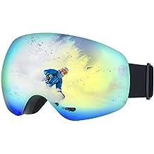Gafas Snowboard, OMorc Gafas Esquí con Anti-Niebla Lente de dual capa, 100% UV400 Protección, Amplio y Claro Campo de Visión,Lligero, Cómodo y Respirable-Azul