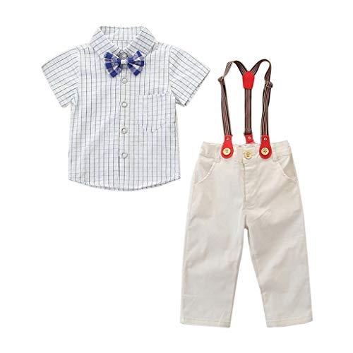 Beikoard Baby Kleidung Kleinkind Kinder Baby Jungen Outfit Kleidung Fliege Hemd + Hosen Gentleman Party Anzug Kleinkind Jungen Shirt und Insgesamt, Kinder Gentleman-Set (Ostern Für Kleinkinder Fliege)