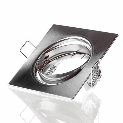 Sweet Led Cadre de montage ampoules halogènes spots LED, inclinable, carré, chrome brossé, douille GU10 incluse