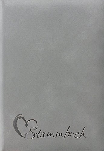 Stammbuch Coco, Velours grau, Prägung Herz in Silber, Ringmechanik, Stammbuchformat (70010R-277)
