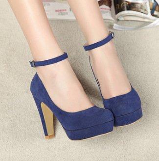 WZG Nouvelles chaussures en daim boucle imperméable épaisse avec des super hauts talons nouvelles chaussures Blue