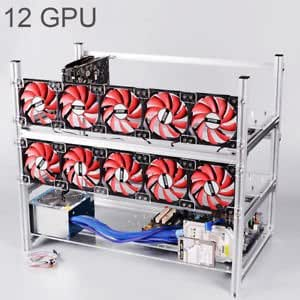 SLB Works Brand New Crypto Aluminum Open Air Mining Rig Stackable Frame 12 GPU Case For ETH Z Cash