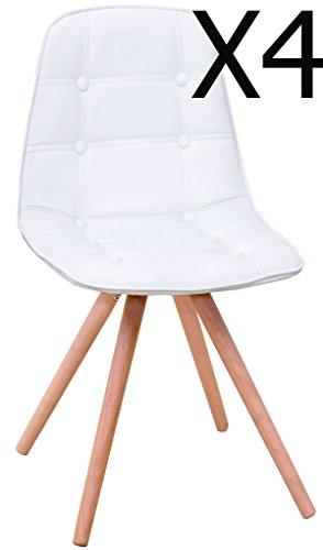 Lot de 4 chaises longue revêtu PU avec solides pieds en bois, coloris blanc - Dim : 400 x 420 x 850 mm - PEGANE -