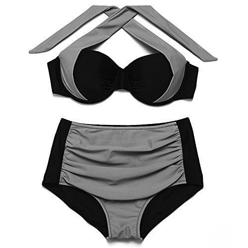 JOTHIN 2017 Frauen Push-up High Waist Bademode Sommer Neckholder Badeanzug Bikini-Set 01