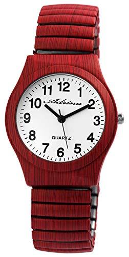 ADRINA Damenuhr Weiß Dunkel Rot Holz-Optik Analog Quarz Metall Zugband Arabische Ziffern Armbanduhr