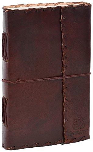 INDIARY Luxusnotizbuch Tagebuch Notizblock aus Büffelleder und handgeschöpftem Papier - schlicht...