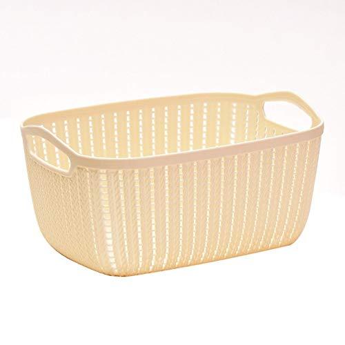 Creative Plastic Desktop Storage Basket with Handle Square Basket Organizer beige -