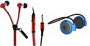 MIRZA Zipper Earphones & Bluetooth Headset for XOLO OPUS HD(Zipper Earphones||With MIC||Zipper Earphones & Mini 503 Bluetooth Headset||Sports Headset||Gym Headset||With MIC)