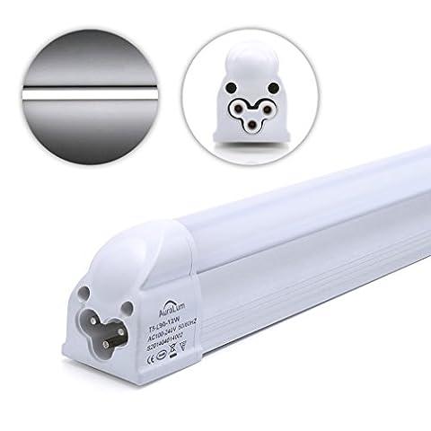 2 X Auralum® T5 12W 3ft(90cm) 72LEDS SMD 2835 1100 Lumens Fluorescent Light LED Tube Cold White(6000-6500K) Energy Saving Office Hospital School Ceiling Lights for Indoor Lighting Milky