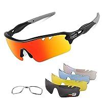 Polarized Sports Sunglasses Cycling Sun Glasses for Men Women with 5 Interchangeable Lenes for Running Baseball Golf Driving Standard black