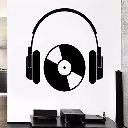Qhrdp hip hop style cuffie musica serie wall sticker vinyl cool rock cuffie con cd art design murale decalcomania art poster 56x89cm