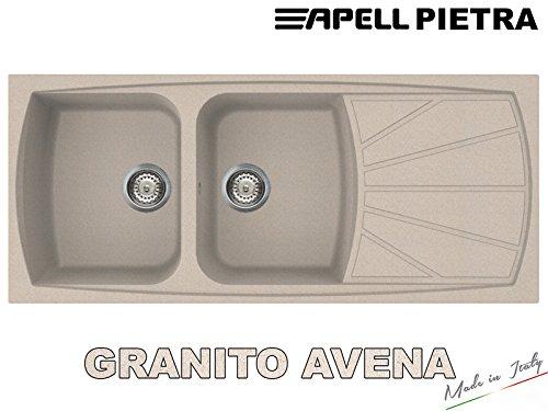 pt1162go lavello incasso cucina pietra 1162 cm116x50 2 vasche e gocciolatoio fragranite granitek avena sabbia