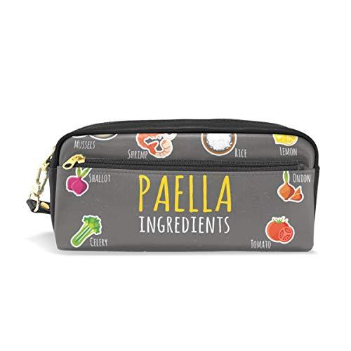 Paella Ingredients Muster Schüleretui Kinder Stifthalter Große Kapazität Tasche Make-up Kosmetik Boxen Büro Reise Tasche