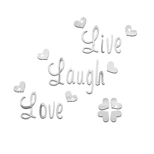TAOtTAO Live Laugh Love Quote Removable Wall Art Aufkleber Spiegel Aufkleber DIY Room Decor (B)