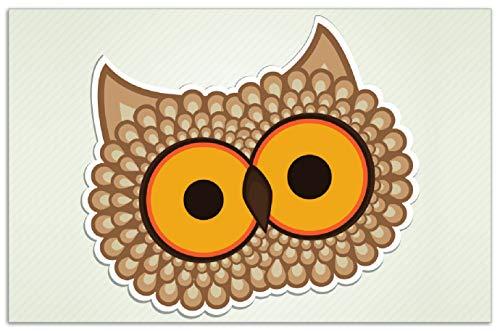 Wallario Herdabdeckplatte/Spritzschutz aus Glas, 1-teilig, 80x52cm, für Ceran- und Induktionsherde, Motiv Lustige Comic Eule mit großen Augen