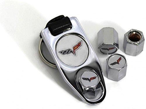 Kappen Corvette Reifen (dantegts 2005–2013Corvette Rad Air Reifen Ventilkappen Cover ABS/W Schlüsselanhänger chrom)