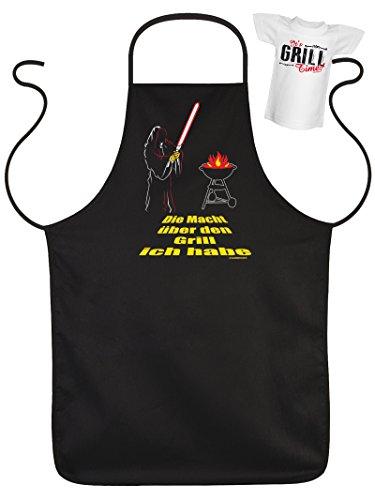 Männergeschenk Grillschürzen Set Die Macht über den Grill ich habe Grillparty Geschenk für Männer Schürze für Männer am Grill Grillen mit Mini Shirt