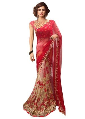 Esomic Women's Georgette Art Silk Bhagalpuri Embroidered Mirror Work Marriage Wear Saree Casual Design Combo with Blouse Material (Heavy Red)