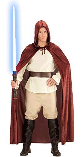 Satin Samt Karneval Jedi Kostüm Herren Damen Halloween Umhang Cape 140cm braun Mönch Robe mit Kapuze Mantel Fasching Horror Star
