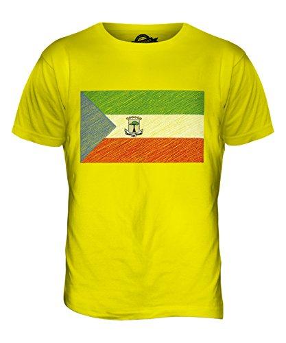 CandyMix Äquatorialguinea Kritzelte Flagge Herren T Shirt Zitronengelb