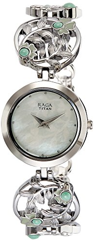 Titan Women's 'Raga Aurora' Quartz Stainless Steel and Brass Casual Watch, Color Silver-Toned (Model: 2540SM05)