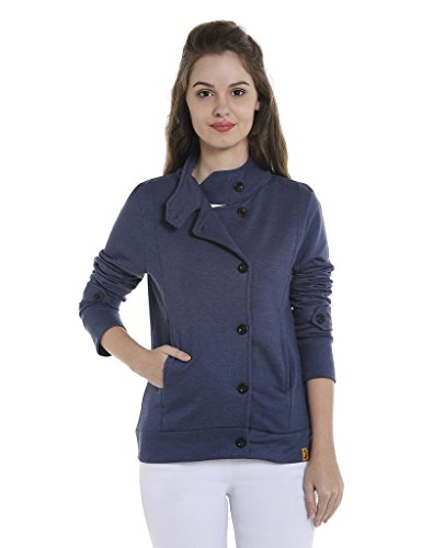 Campus Sutra Women's Cotton Sweatshirt (AZW17_JKHNK_W_PLN_DN_AZ_XL_Denim_X-Large)