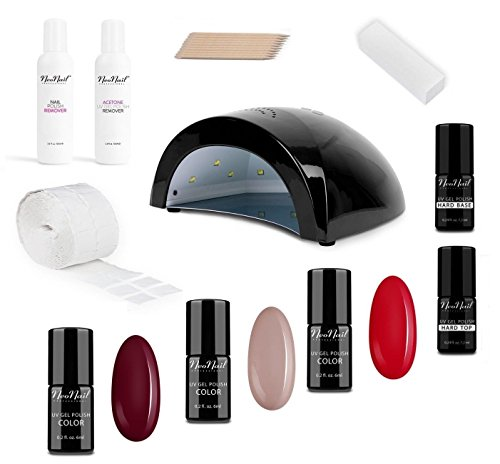 NeoNail Starter Set BLACK mit LED Lampe dual 24W\48W dazu 3x Nagellack 6ml Fiery Flamenco + Silky Nude + Wine Red + Base & Top + Accessoires Beauty Geschenk für Frauen