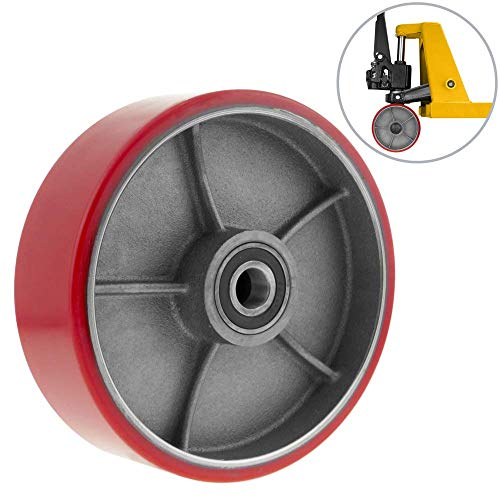 PrimeMatik - Paletten Fixierer Rad für Hubwagen Polyurethan Rolle 180x50 mm 900 Kg