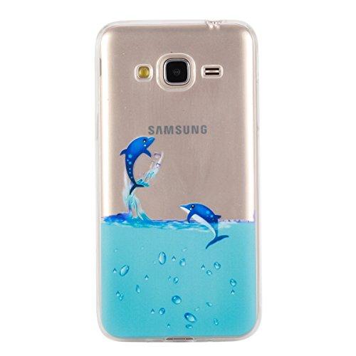 JAWSEU Coque Etui pour Samsung Galaxy J3/J3 2016,Samsung Galaxy J3/J3 2016 Coque en Silicone Transparent,Samsung Galaxy J3/J3 2016 Silicone Coque Cristal Clair Etui Housse,Samsung Galaxy J3/J3 2016 So dauphin
