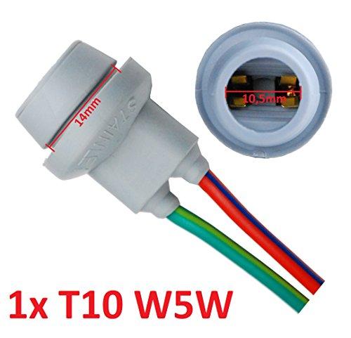 L&P B585 1x T10 W5W douille d'ampoule en caoutchouc pour socle en verre W2, 1X9, 5DT10