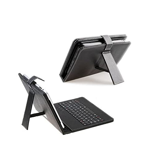 Universal Keyboard Case Leather Faux Case for 9 inch Tablet PC in Black Connects via USB/ MICRO USB or MINI