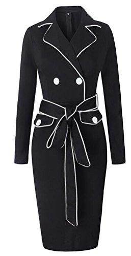 SunIfSnow - Robe spécial grossesse - Moulante - Uni - Col Chemise À Patte Boutonnée - Manches Longues - Femme Noir
