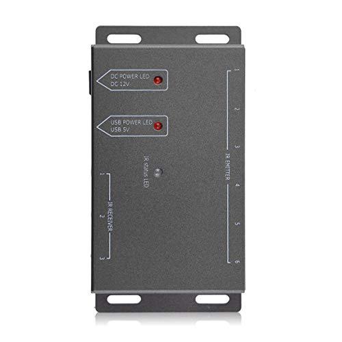 Kompakte Größe Einfach zu montierender Infrarot-Fernbedienungs-Extender 6 Sender 1 Empfänger CFL-freundliches IR-Repeater-System-Kit (Farbe: schwarz) -