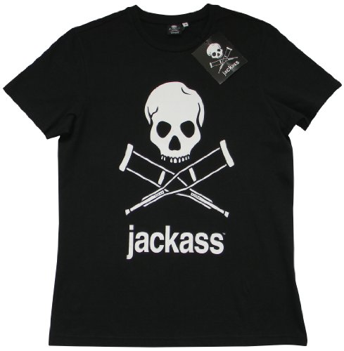 ACTS- MTV Jackass -  T-shirt - Logotipo - Collo a U  - Maniche corte  - Uomo nero Small