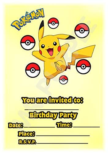 arty-Einladungen - Pikachu Portrait Pokeball Design - Partyzubehör (Packung mit 12 Einladungen im A5-Format) WITH Envelopes ()