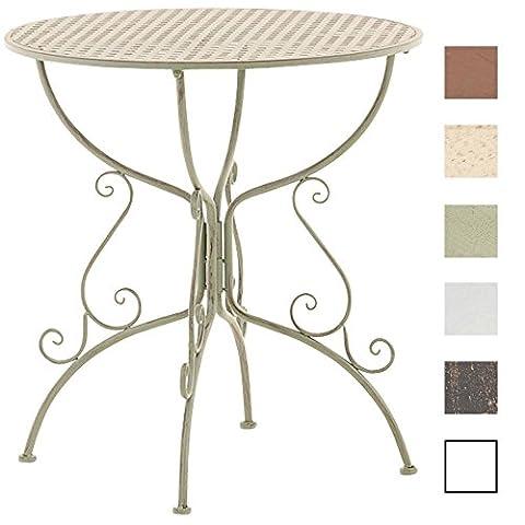 CLP Table de jardin ronde en fer forgé AMANDA, Table de bistrot faite à la main, Table en fer forgé antique, diamètre Ø 70 cm vert