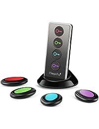 Magicfly Localisateur d'objets (clés, portefeuilles...) avec LED Porte Clés Siffleur Key Finder Anti-perte--1 emetteur + 4 récepteurs