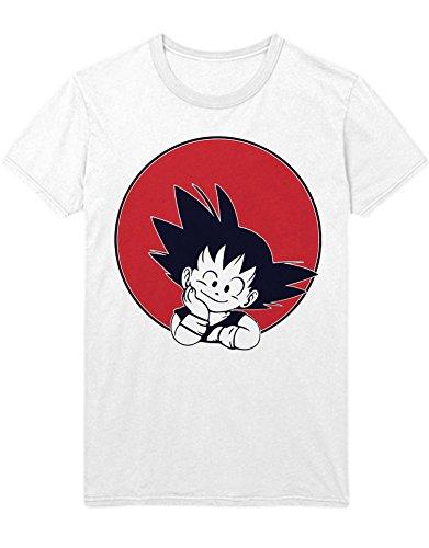 (T-Shirt Son Goku Dragon Z Growing Fast GT Super Trunks Gohan Saiyajin C980007 Weiß XXL)