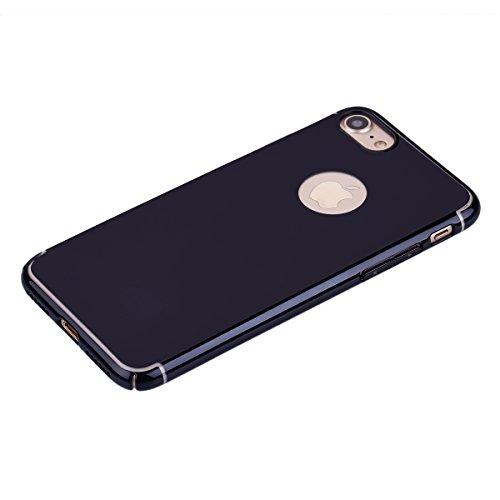 Ukayfe Copertura Custodia a specchio per iPhone 7/8, Moda Casa Con il confine di oro rosa placcatura Design ,Custodia Brillante cristallo Ultra Sottile Morbido TPU Gel Silicone Mirror Case Protettivo  Nero-specchio